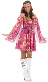 Ladies 60s Swirl Fancy Dress Costume