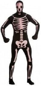 Mens Skeleton 2nd Skin Fancy Dress Costume