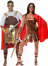 Couples Roman Warrior Fancy Dress Costumes