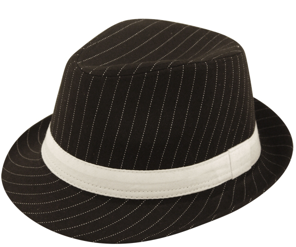 8cacbeaa5 Adult Black Pinstriped Gangster Hat