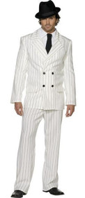Mens Fever White Gangster Fancy Dress Costume