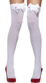 Ladies White Bow Top Stockings
