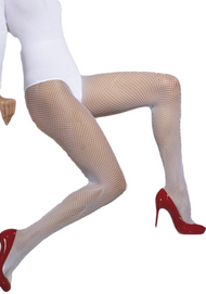 Ladies White Fishnet Tights