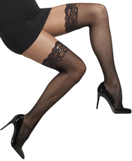 Ladies Black Lace Top Fishnet Stockings