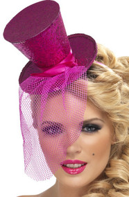 Ladies Glittery Pink Mini Top Hat