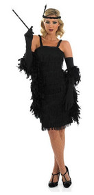 Ladies Black Flapper Fancy Dress Costume