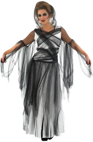 Ladies Black Haunting Ghost Fancy Dress Costume