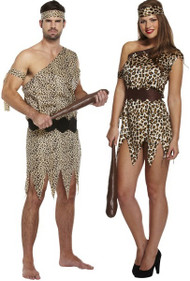 Couples Caveman & Woman Fancy Dress Costume
