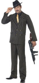 Mens Gold Pinstriped Gangster Fancy Dress Costume