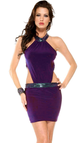 Ladies Purple Cut Out Mini Dress
