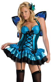Ladies Blue Fantasy Fairy Fancy Dress Costume