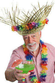 Adult Hawaiian Fancy Dress Straw Hat