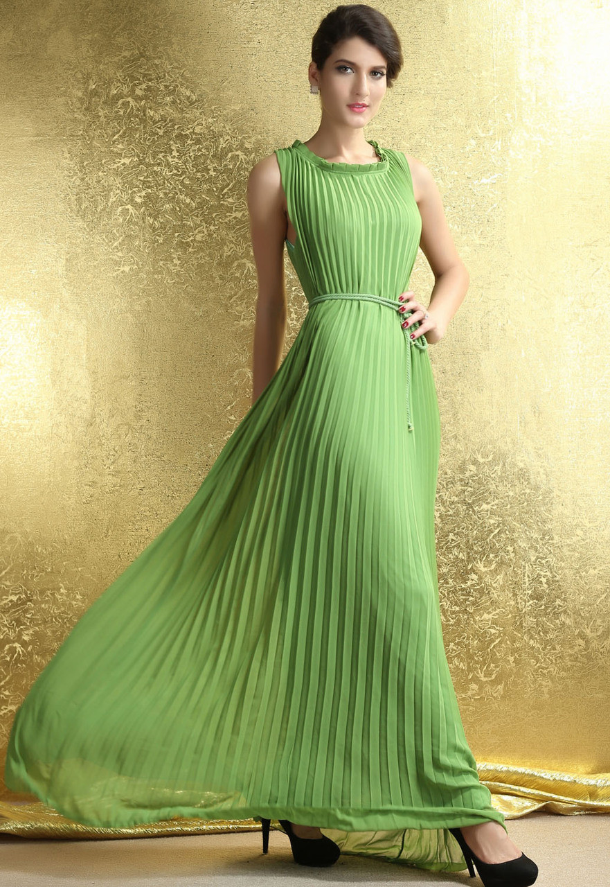8f91794993 Ladies Green Pleated Maxi Dress. Previous. Image 1
