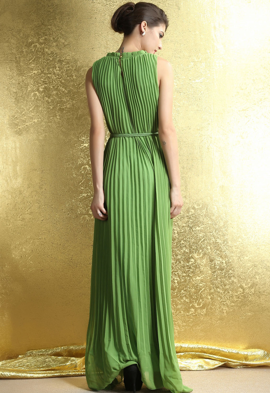 a7f18221387 Ladies Green Pleated Maxi Dress. Previous. Image 1 Click to view full size  image  Image 2