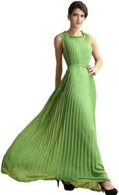 Ladies Green Pleated Maxi Dress
