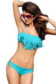 Ladies Blue Fringed Bandeau Bikini