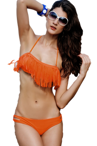 Ladies Orange Fringed Bandeau Bikini