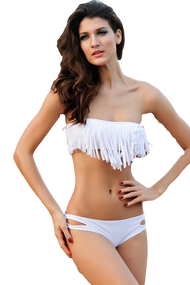 Ladies White Fringed Bandeau Bikini