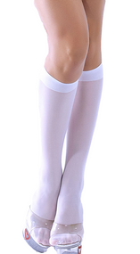 Ladies White Knee High Stockings