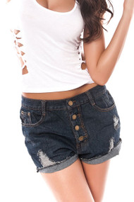 Ladies Distressed Denim Hot Pants