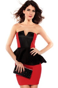 Ladies Red and Black Peplum Dress
