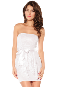 Ladies White Strapless Lace Overlay Mini Dress