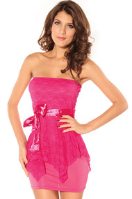 Ladies Pink Strapless Lace Overlay Mini Dress
