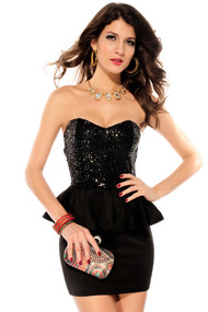 Ladies Black Sequinned Peplum Dress