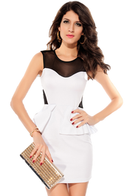 Ladies White Studded Shoulder Peplum Dress