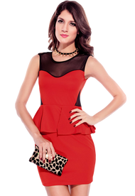 Ladies Red Studded Shoulder Peplum Dress