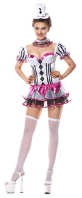 Ladies Cirque De Sexy Clown Fancy Dress Costume