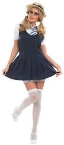 Ladies School Girl Fancy Dress Costume 2