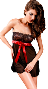Ladies Black Lace Strapless Babydoll