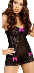Ladies Black/Pink Lace Bow Underwear Set