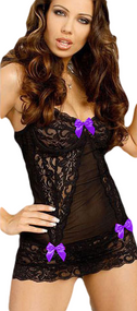 Ladies Black/Purple Lace Bow Underwear Set