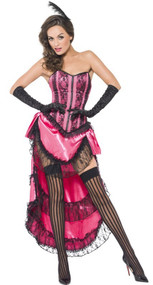 Ladies Pink Can Can Girl Fancy Dress Costume