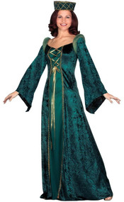 Ladies Green Medieval Fancy Dress Costume
