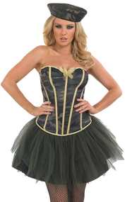 Ladies Army Tutu Fancy Dress Costume 2