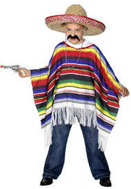 Boys Mexican Bandit Fancy Dress Costume Poncho