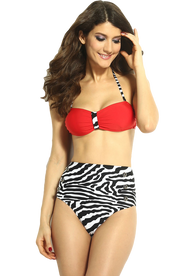 Ladies Red and Zebra Print High Waisted Bikini