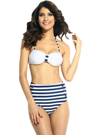 Ladies White and Navy High Waisted Bikini