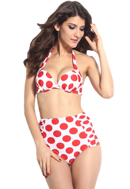 Ladies Red and White Spotted High Waisted Bikini