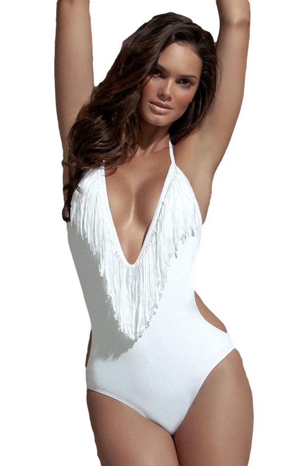 4c61297b2 Ladies White Tassell Swimsuit. Previous. Image 1 Click to view full size  image  Image 2