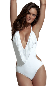 Ladies White Tassell Swimsuit