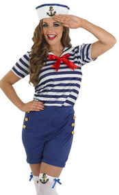 Ladies Sassy Sailor Fancy Dress Costume