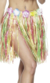 Ladies Multi-Coloured Hawaiian Hula Skirt