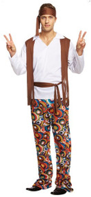Mens 1960s Hippie Fancy Dress Costume