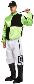 Mens Green Jockey Fancy Dress Costume