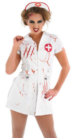 Ladies Light Up Zombie Nurse Fancy Dress Costume