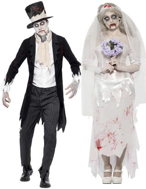 Dead Bride Halloween Costume.Couples Zombie Bride Groom Fancy Dress Costumes